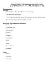 Review Sheet - Renaissance and Reformation 09