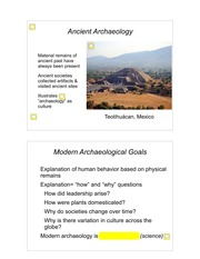 Lecture 2 - Origins of Archaeology as a Social Science