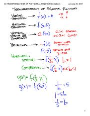 3.8 TRANSFORMATIONS OF POLYNOMIAL FUNCTIONS