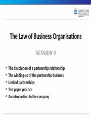 Law of Business Organisations Session 4 2014