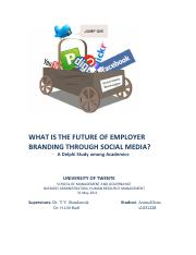 WHAT IS THE FUTURE OF EMPLOYER BRANDING THROUGH SOCIAL MEDIA