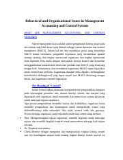 Behavioral and Organizational Issues in Management Accounting and Control System.docx
