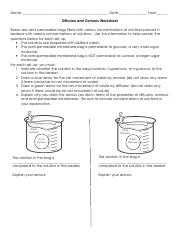 Osmosis and diffusion worksheet - Name Date Hour Diffusion and ...