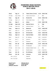 Girls Water Polo Schedule 2017-18