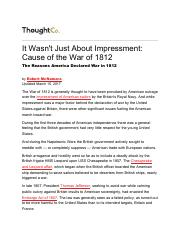 main causes of the war of 1812