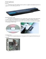 B. Product Specification and production process