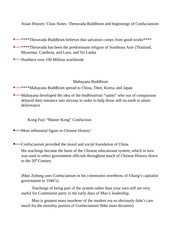 Asian History- Class Notes- Theravada Buddhism and beginnings of Confucianism