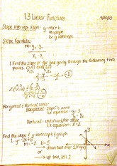 1.3 Linear functions notes