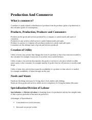 Production And Commerce