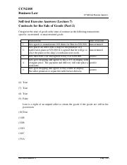 L7 Self-test Exercise (Ans) - Contracts for the Sale of Goods (Part 2)
