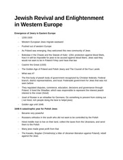 Jewish Revival and Enlightenment in Western Europe