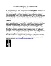 Invasive Species Research Paper Assignment