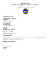 Eta Delta Chapter Treasurer Report 1119