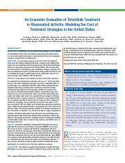 An Economic Evaluation of Tofacitinib Treatment in Rheumatoid Arthritis- Modeling the Cost of Treatm