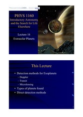 Lecture 16 — Extrasolar Planets