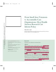 5.Luft HS. From small area variations to accountable care organizations how health services research