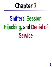 Chap 7 Sniffers, Session Hijacking, and DOS
