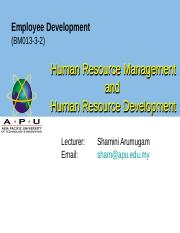 WEEK 3  4 Human Resource Management and Human Resource Development