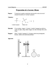 Minilab #18-Prep. and Prop. of a Gaseous Alkene