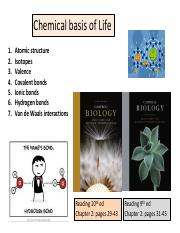 Lecture 1 Chemical Basis of Life
