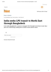 India seeks LPG transit to North East through Bangladesh - Livemint