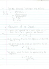 MBF3C Equation of a Circle Notes and practise