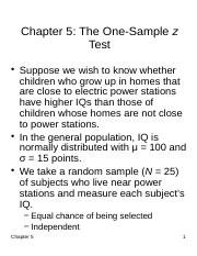 Chapter 5 - The One-Sample z Test