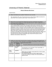 cja 324 ethical worksheet law enforcement Free essay: the ethical dilemma of euthanasia an incredibly controversial issue clouds the minds of millions of people everyday as death confronts them the.