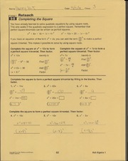 9.8 Worksheet completing the square