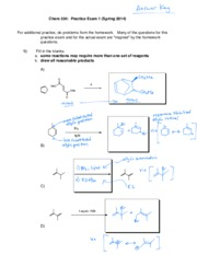 CHEM 334 Exam 1 Practice with Key
