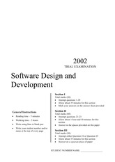 2002_Software_Design_and_Development_Trial_Trial_Exam_Independant
