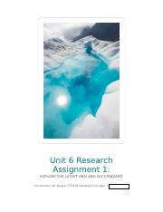 Unit 6 Research Assignment 1