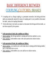 clutch ppt - BASIC DIFFERENCE BETWEEN COUPLING,CLUTCHES