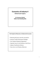 Lecture note - economy of industry