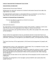 6- ORGANIZATIONAL ENVIRONMENT AND CULTURE