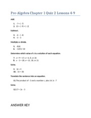 Pre-Algebra Chapter 1 Quiz 2 Lessons 4-9