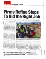Firms Refine Steps to Bid the Right Jobs Article