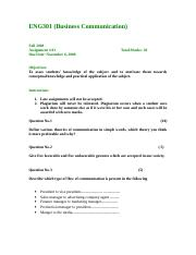 Business Communication - ENG301 Fall 2008 Assignment 01.doc