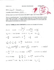 PHYS 1214 second hour exam w/ answers