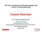 BEC 220 Spring 2015 Lecture 1 Course Overview