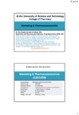 Pharmacoeconomics& Marketing  Al Ain University Session 1&2