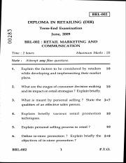 (www.entrance-exam.net)-IGNOU Diploma in Retailing-Retail Marketing and Communication Sample Paper 3