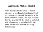 EDHD 400 Spring 2015 Aging and Mental Health
