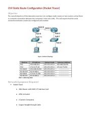 Ch9 Configuring Static Routes (Packet Tracer)