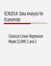 ECN2014 CLRM Lectures 2 and 3