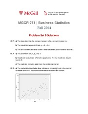 MGCR 271 Fall2014 Problem Set 9 Solutions