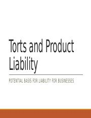 VSB 2007 - 5 Torts and Product Liability.pptx