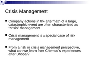 Lecture 15 - Chemco and Insurance
