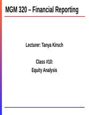 MGM320 Winter 2019 - Lecture #10 - Equity Analysis - LECTURER.pptx