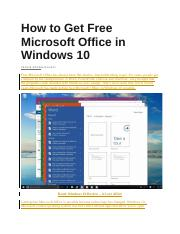 How to Get Free Microsoft Office in Windows 10.docx